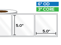 Rectangular Labels, High Gloss White Paper | 5 x 5 inches | 3 in. core, 6 in. outside diameter