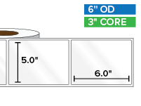 Rectangular Labels, High Gloss White Paper | 5 x 6 inches | 3 in. core, 6 in. outside diameter