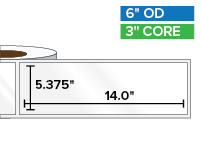Rectangular Labels, High Gloss White Paper | 5.375 x 14 inches | 3 in. core, 6 in. outside diameter