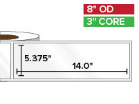 Rectangular Labels, High Gloss White Paper | 5.375 x 14 inches | 3 in. core, 8 in. outside diameter