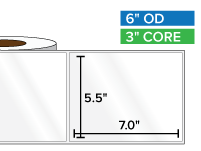 Rectangular Labels, High Gloss White Paper | 5.5 x 7 inches | 3 in. core, 6 in. outside diameter