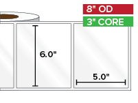 Rectangular Labels, High Gloss White Paper | 6 x 5 inches | 3 in. core, 8 in. outside diameter