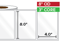 Rectangular Labels, High Gloss White Paper | 8 x 4 inches | 3 in. core, 8 in. outside diameter