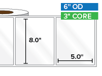 Rectangular Labels, High Gloss White Paper | 8 x 5 inches | 3 in. core, 6 in. outside diameter