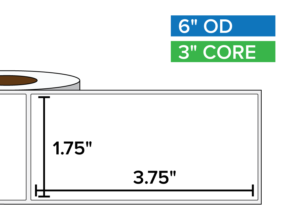 Rectangular Labels, Matte BOPP (poly) | 1 75 x 3 75 inches | 3 in  core, 6  in  outside diameter