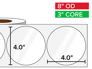 Circular Labels, High Gloss BOPP (poly) | 4 x 4 inches | 3 in. core, 8 in. outside diameter