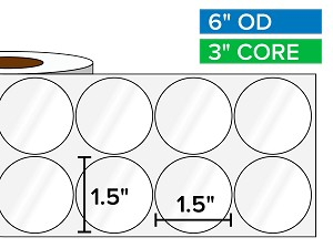 Circular Labels, High Gloss White Paper | 1.5 x 1.5 inches, 2-UP | 3 in. core, 6 in. outside diameter