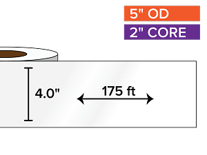 Continuous Label Stock, High Gloss BOPP (poly) | 4 in. x 175 ft. | 2 in. core, 5 in. outside diameter