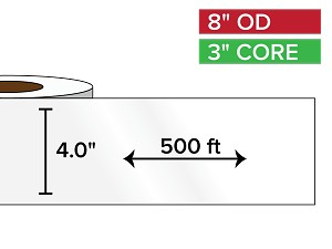 Continuous Label Stock, High Gloss BOPP (poly) | 4 in. x 500 ft. | 3 in. core, 8 in. outside diameter