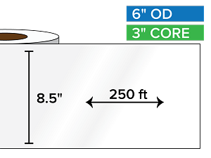 Continuous Label Stock, High Gloss BOPP (poly) | 8.5 in. x 250 ft. | 3 in. core, 6 in. outside diameter