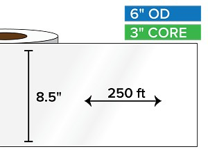 Continuous Label Stock, High Gloss White Paper | 8.5 in. x 250 ft. | 3 in. core, 6 in. outside diameter