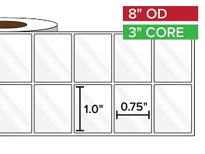 Rectangular Labels, High Gloss BOPP (poly) | 1 x 0.75 inches, 2-UP | 3 in. core, 8 in. outside diameter