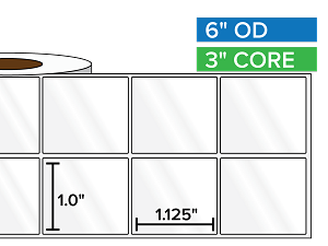 Rectangular Labels, High Gloss BOPP (poly) | 1 x 1.125 inches, 2-UP | 3 in. core, 6 in. outside diameter