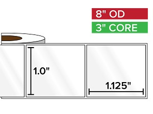 Rectangular Labels, High Gloss BOPP (poly) | 1 x 1.125 inches | 3 in. core, 8 in. outside diameter