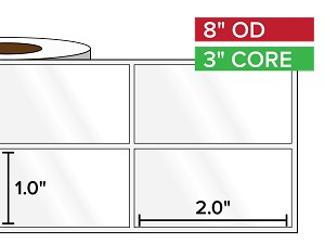 Rectangular Labels, High Gloss BOPP (poly) | 1 x 2 inches, 2-UP | 3 in. core, 8 in. outside diameter
