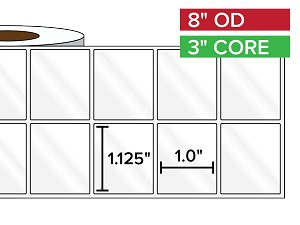 Rectangular Labels, High Gloss BOPP (poly) | 1.125 x 1 inches, 2-UP | 3 in. core, 8 in. outside diameter