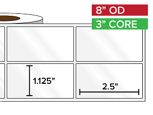 Rectangular Labels, High Gloss BOPP (poly) | 1.125 x 2.5 inches, 2-UP | 3 in. core, 8 in. outside diameter