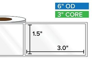 Rectangular Labels, High Gloss BOPP (poly) | 1.5 x 3 inches | 3 in. core, 6 in. outside diameter