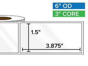 Rectangular Labels, High Gloss BOPP (poly) | 1.5 x 3.875 inches | 3 in. core, 6 in. outside diameter