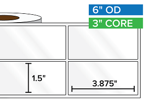 Rectangular Labels, High Gloss BOPP (poly) | 1.5 x 3.875 inches, 2-UP | 3 in. core, 6 in. outside diameter