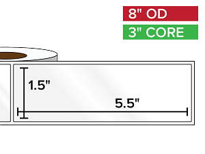 Rectangular Labels, High Gloss BOPP (poly) | 1.5 x 5.5 inches | 3 in. core, 8 in. outside diameter