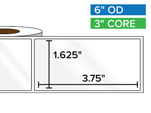 Rectangular Labels, High Gloss BOPP (poly) | 1.625 x 3.75 inches | 3 in. core, 6 in. outside diameter