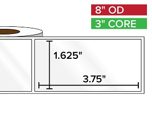 Rectangular Labels, High Gloss BOPP (poly) | 1.625 x 3.75 inches | 3 in. core, 8 in. outside diameter