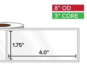Rectangular Labels, High Gloss BOPP (poly) | 1.75 x 4 inches | 3 in. core, 8 in. outside diameter