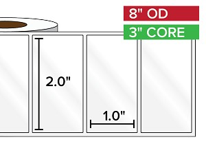 Rectangular Labels, High Gloss BOPP (poly) | 2 x 1 inches | 3 in. core, 8 in. outside diameter