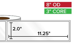 Rectangular Labels, High Gloss BOPP (poly) | 2 x 11.25 inches | 3 in. core, 8 in. outside diameter