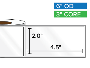 Rectangular Labels, High Gloss BOPP (poly) | 2 x 4.5 inches | 3 in. core, 6 in. outside diameter