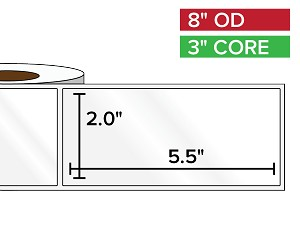 Rectangular Labels, High Gloss BOPP (poly) | 2 x 5.5 inches | 3 in. core, 8 in. outside diameter