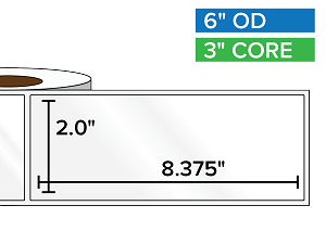 Rectangular Labels, High Gloss BOPP (poly) | 2 x 8.375 inches | 3 in. core, 6 in. outside diameter