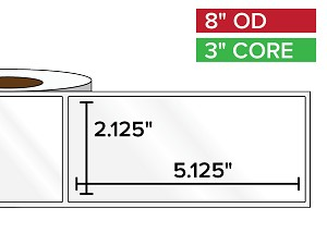 Rectangular Labels, High Gloss BOPP (poly) | 2.125 x 5.125 inches | 3 in. core, 8 in. outside diameter