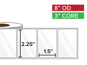 Rectangular Labels, High Gloss BOPP (poly) | 2.25 x 1.5 inches | 3 in. core, 8 in. outside diameter