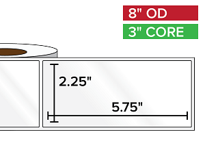 Rectangular Labels, High Gloss BOPP (poly) | 2.25 x 5.75 inches | 3 in. core, 8 in. outside diameter