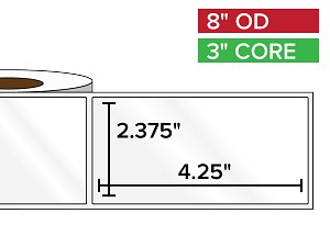 Rectangular Labels, High Gloss BOPP (poly) | 2.375 x 4.25 inches | 3 in. core, 8 in. outside diameter