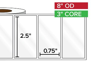 Rectangular Labels, High Gloss BOPP (poly) | 2.5 x 0.75 inches | 3 in. core, 8 in. outside diameter