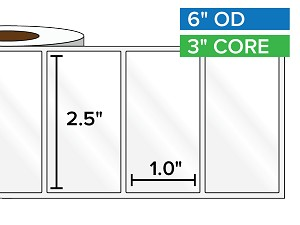 Rectangular Labels, High Gloss BOPP (poly) | 2.5 x 1 inches | 3 in. core, 6 in. outside diameter