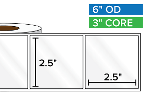 Rectangular Labels, High Gloss BOPP (poly) | 2.5 x 2.5 inches | 3 in. core, 6 in. outside diameter