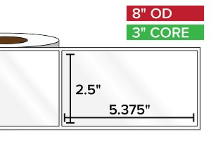 Rectangular Labels, High Gloss BOPP (poly) | 2.5 x 5.375 inches | 3 in. core, 8 in. outside diameter