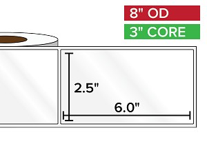 Rectangular Labels, High Gloss BOPP (poly) | 2.5 x 6 inches | 3 in. core, 8 in. outside diameter