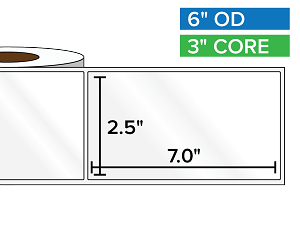 Rectangular Labels, High Gloss BOPP (poly) | 2.5 x 7 inches | 3 in. core, 6 in. outside diameter