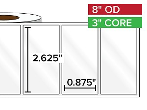 Rectangular Labels, High Gloss BOPP (poly) | 2.625 x 0.875 inches | 3 in. core, 8 in. outside diameter