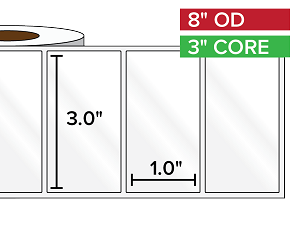 Rectangular Labels, High Gloss BOPP (poly) | 3 x 1 inches | 3 in. core, 8 in. outside diameter