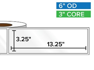 Rectangular Labels, High Gloss BOPP (poly) | 3.25 x 13.25 inches | 3 in. core, 6 in. outside diameter