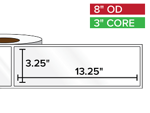 Rectangular Labels, High Gloss BOPP (poly) | 3.25 x 13.25 inches | 3 in. core, 8 in. outside diameter