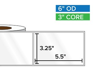 Rectangular Labels, High Gloss BOPP (poly) | 3.25 x 5.5 inches | 3 in. core, 6 in. outside diameter
