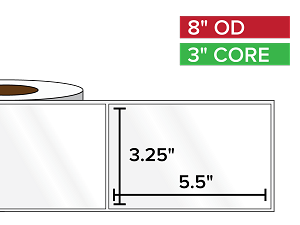 Rectangular Labels, High Gloss BOPP (poly) | 3.25 x 5.5 inches | 3 in. core, 8 in. outside diameter