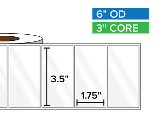 Rectangular Labels, High Gloss BOPP (poly) | 3.5 x 1.75 inches | 3 in. core, 6 in. outside diameter